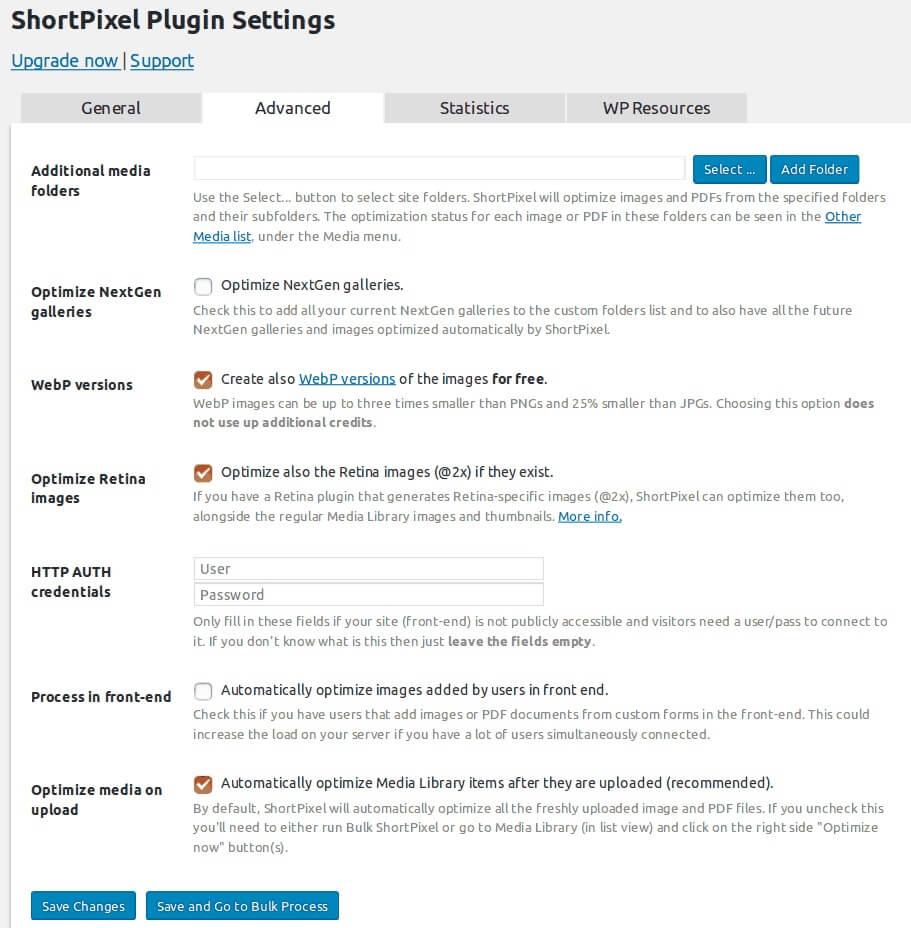 Shortpixel fornece excelentes resultados mas envolve mexer em mais definições